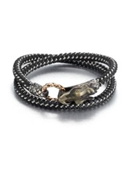 John Hardy Braided Wrap Sterling Silver Bracelet Grey Black