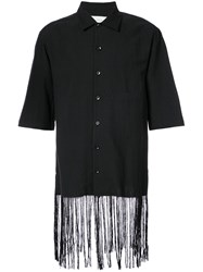 Song For The Mute Fringed Hem Shirt Polyester Wool Black