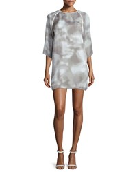 Halston Kimono Sleeve Printed Shift Dress White Mist White Blue