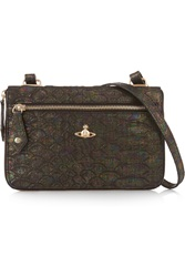 Vivienne Westwood Holographic Snake Effect Leather Shoulder Bag Black