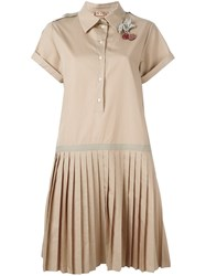 N 21 No21 Pleated Shirt Dress Brown