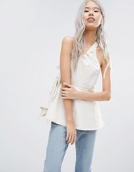 Weekday Press Pack One Shoulder Top With Buckle Off White Cream