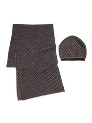Portolano Printed Wool Blend Scarf And Hat Set Brown Multi