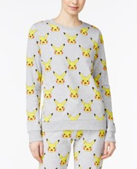 Mighty Fine Pokemon Juniors' Pikachu Graphic Sweatshirt Heather Grey
