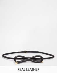 Reiss Swift Leather Bow Tie Belt Black