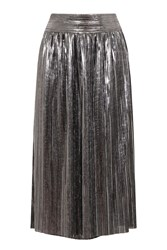 Hotsquash Clever Lined Metallic Pleated Midi Skirt Silver Metallic