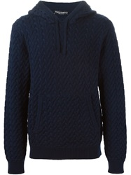 Dolce And Gabbana Cable Knit Hoodie Blue