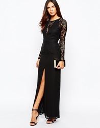 Elise Ryan Lace Maxi Dress With Deep V Plunge Neck And Thigh Split Black
