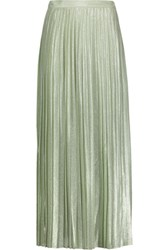 Adam By Adam Lippes Pleated Metallic Silk Blend Maxi Skirt Mint
