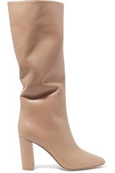 Gianvito Rossi Laura 85 Leather Knee Boots Taupe