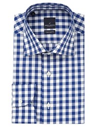 Daniel Hechter Check Tailored Fit Shirt Blue White