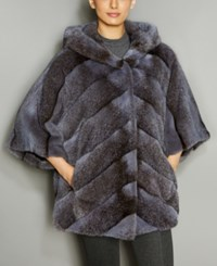 The Fur Vault Mink Hooded Chevron Jacket Smoke Grey