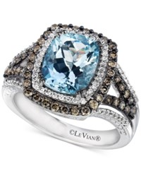 Le Vian Chocolatier Sea Blue Aquamarine 2 Ct. T.W. And Diamond 3 4 Ct. T.W. Ring In 14K White Gold