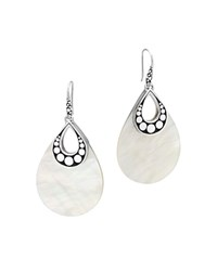 John Hardy Sterling Silver Dot Drop Earrings With Mother Of Pearl White Silver