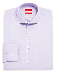 Hugo Small Glen Plaid Sharp Fit Regular Fit Dress Shirt Lavender