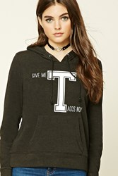 Forever 21 Fleece Knit Graphic Pj Hoodie Black White