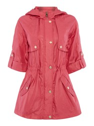 Eliza J Hooded Parka Coat With 3 4 Sleeves Pink