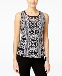 Inc International Concepts Petite Embroidered Sleeveless Top Only At Macy's Deep Black