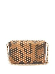 Christian Louboutin Zoomi Leopard Print Leather And Spike Clutch Leopard