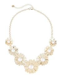 Lydell Nyc Daisy Simulated Pearl Statement Necklace Gold