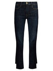 Frame Le High Straight Leg Cropped Jeans Dark Denim