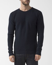 Knowledge Cotton Apparel Navy Blue Organic Crew Neck Pullover