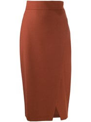 Antonelli Draped Pencil Skirt Brown