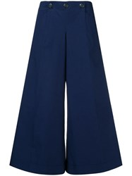 Chanel Vintage Wide Cropped Trousers Blue