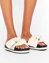 Sixty Seven Sixtyseven White Bow Slide Flat Sandals White