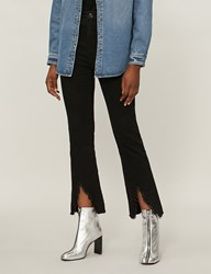 Moandco. Frayed Cropped High Rise Skinny Jeans Black Denim