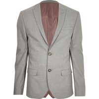 River Island Grey Textured Skinny Suit Jacket