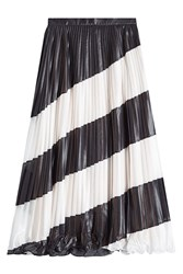 Marco De Vincenzo Pleated Diagonal Stripe Midi Skirt