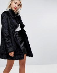 Lost Ink Wrap Coat In Luxe Velvet With Faux Fur Trim Black