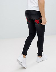 Liquor N Poker Black Wash Rose And Swallow Embroidered Skinny Jeans Black