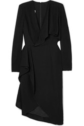 Elie Saab Draped Wrap Effect Cady Dress Black