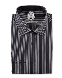 English Laundry Striped Long Sleeve Dress Shirt Black
