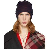 Gucci Navy And Red Alpaca Gg Supreme Beanie