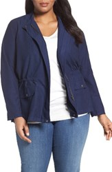 Sejour Plus Size Women's Relaxed Utility Jacket Navy Peacoat