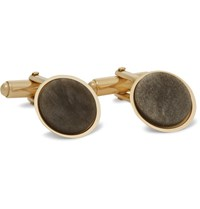 Lanvin Gold Plated Obsidian Cufflinks Gold