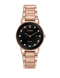Citizen Ladies Axiom Diamond Pink Goldtone Stainless Steel Bracelet Watch Rose Gold