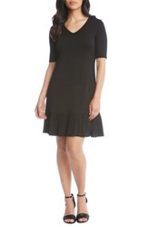 Karen Kane V Neck Ruffle Hem Dress Black