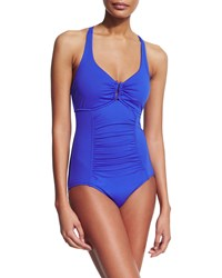 Seafolly Goddess U Tube One Piece Swimsuit Blue Ray