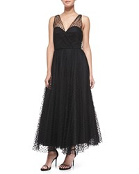Milly Sleeveless Dotted Tulle Overlay Gown Women's