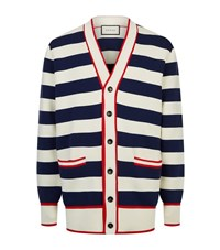 Gucci Striped Embroidered Cardigan Male Blue