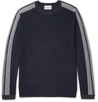 Solid Homme Slim Fit Stripe Trimmed Wool Sweater Navy