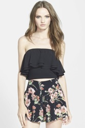 Leith Ruffled Chiffon Tube Top Juniors Black