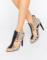 Little Mistress Grey Caged Heels Black Grey