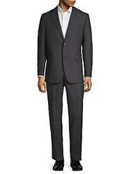 Saks Fifth Avenue Black Pinstripe Wool Suit Black