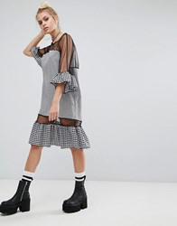 The Ragged Priest Oversized Mesh Dress With Gingham Trims Black