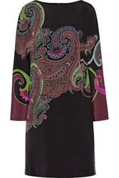 Etro Paisley Print Stretch Silk Dress Black